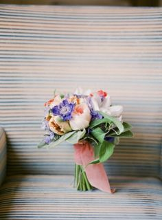 Lovely bouquet with purple, blush, and orange hues