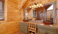 Blue Mountain Lodge -  Upstairs bath with double glass vessel sink vanity #BlueMountainLodge #vacationrental #GatlinburgVacation #byowner