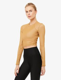 Alo Yoga Vision Long Sleeve Caramel Latte Sports Crop Tops, Wear Test, Workout Attire, 4 Way Stretch Fabric, Dress Me Up, Bra Tops, Long Sleeve Tops, Perfect Fit, Caramel Latte