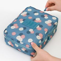 Neceser Floral Nylon Zipper New Women Makeup bag Cosmetic bag Case Make Up Organizer Toiletry bag kits Storage Travel Wash pouch