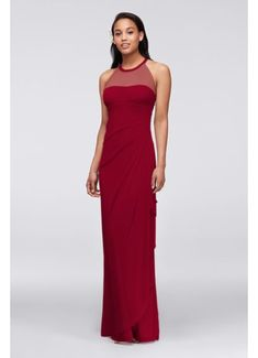 Extra Length Mesh Dress with Illusion Neckline 4XLF15662
