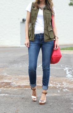 classic pieces with a bit of edge: vest, tee, skinny jeans and poppy accents