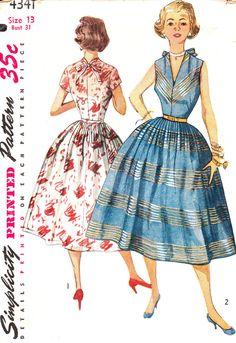 Vintage 1950s Junior Misses' and Misses' One-Piece Dress: Size 13 Simplicity 4341 UNCUT