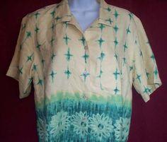 Ladies Tommy Bahama 100% Silk Hawaiian Blouse SZ Small $9.90 #guysgifts