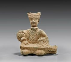 """HAN DYNASTY POTTERY MUSICIAN Chinese Han Dynasty pottery figure; of a seated musician playing a guqin on his lap; H: 8"""" The Han Dynasty, China Art, Ancient China, Chinese Style, Picture Show, Westerns, Lion Sculpture, Objects, Pottery"""