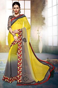 Buy Yellow Chiffon Designer Saree Online in low price at Variation. Huge collection of Designer Sarees for Wedding. #designer #designersarees #sarees #onlineshopping #latest #lowprice #variation. To see more - https://www.variationfashion.com/collections/designer-sarees