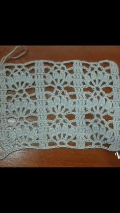 Crotchet Stitches, Crochet Shell Stitch, Knitting Stitches, Lace Knitting Patterns, Crochet Bedspread, Crochet Blocks, Crochet Instructions, Square Patterns, Crochet Designs