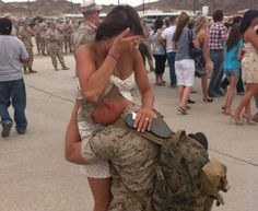 Previous pinned wrote: When's the last time your spouse came home from work and was THIS happy to see YOU? For those who don't serve, probably never.