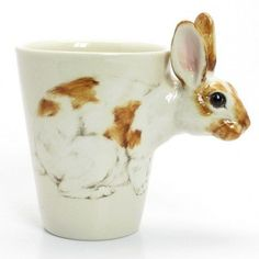 Rabbit Lover Mug Ceramic Cup Handmade Home Decor Pet Lover Gift 00023
