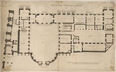 File: Map of the archbishop's palace in Bourges by Pierre Bullet - Gallica. Architecture Mapping, French Architecture, Classical Architecture, Old Building, Building Plans, Architectural Floor Plans, Architectural Drawings, Palace Of Versailles, Fantasy Castle
