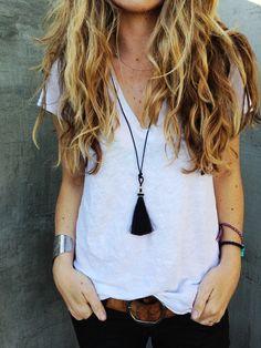 ★ //» ascotfriday — horse hair tassel necklace // small black