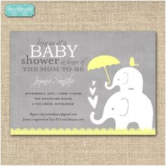Elephant Baby Shower Invitation / Printable Baby Boy Shower Invitation / Elephant Baby and Momma Theme / Item 10553 Beautiful Baby Shower, Unique Baby Shower, Baby Shower Yellow, Baby Boy Shower, Elephant Baby Showers, Baby Elephant, Baby Shower Printables, Baby Shower Themes, Shower Ideas