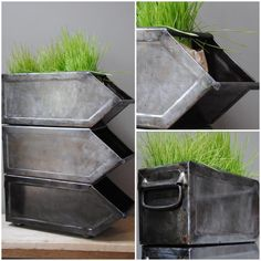 Could paint plastic IKEA bins so they have a metal look ;)
