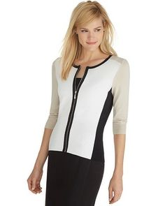 #whbm  LOVE this cardigan, great colors, love the zip and color block pattern.