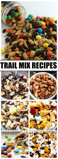 Need a quick and easy snack for a busy day? Try these delicious and easy Trail Mix Recipes! Trail mix makes the perfect treat for an after school snack or something to munch on during work. With so much variety and different flavors, these recipes will become your new go to snack food!