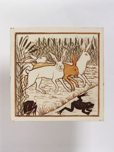 Place of origin: Stoke, England (made)  Date: ca. 1875 (made)  Artist/Maker: Minton, Hollins & Co. (maker) Tile of earthenware painted with colours. Painted with an image inspired from Aesop's Fables with the rabbits and the frog. Materials and Techniques: Earthenware painted with colours
