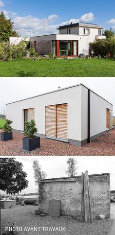 #Architecte : Buyle Descriptif #projet : Construction d'un petit #pavillon de 52m² comprenant une #chambre et douche, une #cuisine, un #salon. Finition des #façades avec un #crépi sur isolant et #bardage ajouré.
