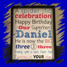 Personalized subway art poster for the birthday bit! Created following a Spider-Man birthday theme! Happy birthday Daniel! $10.00 frame included