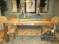 "Solid, reclaimed wood dining table in a distressed finish. Perfect for a more rustic or industrial style home! Love all the different tones in this finish. 36""wide x 71""long. Just what your dining room needs!"