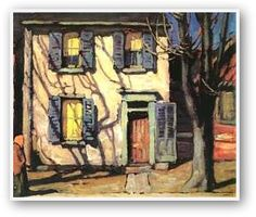 Something about the Toronto house paintings. Centre Street, Toronto - Lawren Harris (Canada, Group of Seven) Tom Thomson, Emily Carr, Urban Landscape, Abstract Landscape, Landscape Paintings, Landscapes, House Paintings, Canadian Painters, Canadian Artists