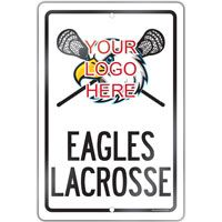 """Create a lacrosse theme in any room with this 18"""" X 12"""" aluminum room sign.  A great gift for an avid lacrosse player, fan or coach!"""