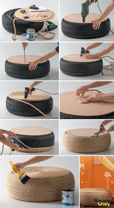 Beautiful DIY Rope Ottoman with a Used Tire - totally making thisPlans of Woodworking Diy Projects - Pneu fauteuil Get A Lifetime Of Project Ideas & Inspiration!rope-tire-ottoman More DIY Posts from DIY for Life Comments commentsRope or get Ikea roun Woodworking Projects Diy, Teds Woodworking, Diy Projects, Upcycling Projects, Weekend Projects, Woodworking Techniques, Diy Home Crafts, Diy Home Decor, Rope Crafts