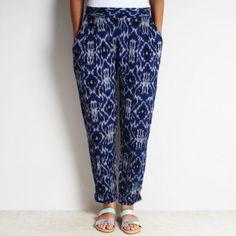 Blue Cotton Tia Pleated Ikat Pants