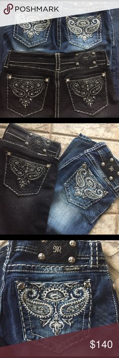 """2 pair lot of sz 28 Miss Me embellished jeans Black pair is approximately 32 inseam, blue distressed stonewashed is approximately 33 inseam. Both low rise and boot cut @9"""" hems. Pristine condition any signs of wear is distressing as done by manufacture the back packets are covered with black rhinestones pewter studs and bezel set clear rhinestones on embellished stitched black pair, blue pair has bezel set light grey rhinestones within stitching embellishments.  Both feature heavy stitching…"""