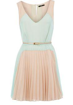 Oasis Colourblock Pleated Dress