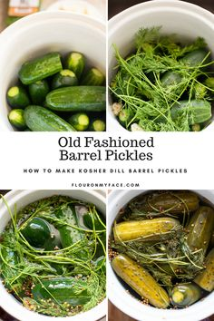 How To Make Kosher Dill Barrel Pickles - Step by step photos of making homemade barrel pickles in a ceramic fermenting crock. Crock Pickle Recipe, Pickles Recipe, Fermentation Recipes, Canning Recipes, Canning Tips, Kosher Dill Pickles, How To Make Pickles, Making Pickles, Salads