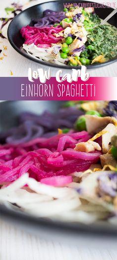 Magische Low Carb Einhorn Spaghetti mit natürlicher Farbe hergestellt. www.lowcarbkoestlichkeiten.de