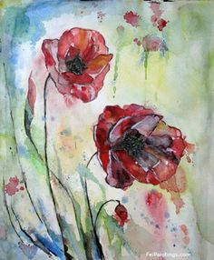 Poppy Paintings Original Flower Watercolors Red Poppies