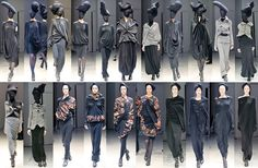 This collection of outfits is depicting a graphic sequence in fashion design. Each of the elements on the patterned clothing is repetitional and collates as a series. Not only that but in someways shows the experimental and conceptual idea behind the collection the designer presents.  it clearly shows the similar pattern or elements of clothes that related each other as a series. it also provides how the designer have experimented and explore the concept on clothes.