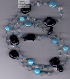 """Necklace with onyx, clear quartz crystal and blue glass beads """"Berenike"""""""