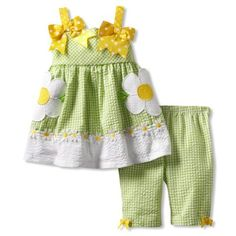 Baby spring dress#Bonnie Baby Girls Infant Seersucker Daisy Pant Set