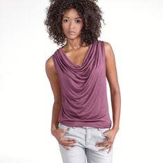 Cowl Neck Sleeveless T-Shirt