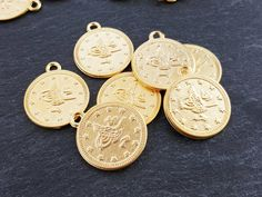 Large Round Coin Charms Non Tarnish Turkish Coins by LylaSupplies
