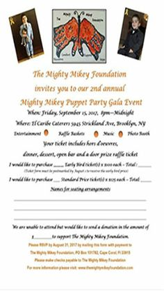 The Mighty Mikey Foundation has invited GARY'S GUTTER SERVICES.INC to its 2nd annual Mighty Mikey Puppet Party Gala Event.
