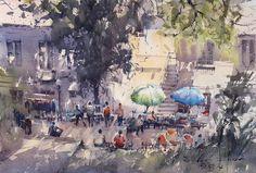 Direk Kingnok Watercolor artist Local market in Lushan, China. 31 x 46 cm.