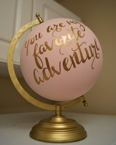 "Hand Painted 12"" Wedding Globe, Shabby Chic, Gold Hand Lettering -- Custom Made To Order di PrettyLittleDoodads su Etsy https://www.etsy.com/it/listing/218274728/hand-painted-12-wedding-globe-shabby"