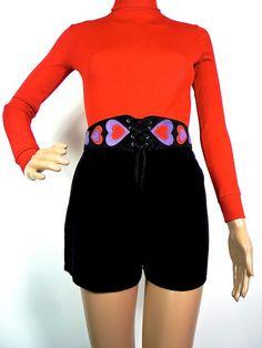 HUZZAR DESIGN vintage 70s customised belt with Folk Heart Applique