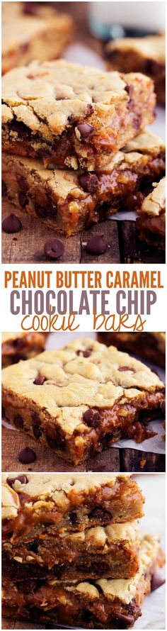 Peanut Butter Caramel Chocolate Chip Cookie Bars - One of the best treats that you will make!