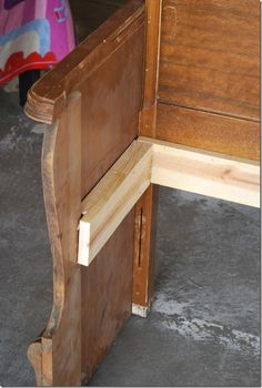 Visual construction of cleat for seat on this converted headboard and footboard bench