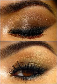 Makeup tip: The best way to bring out dark brown eyes is to line the eye with a smoldering black liner.