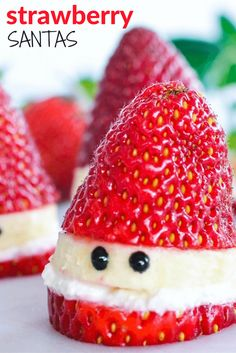 Healthy Strawberry Santas A fun Christmas food idea for kids. Simple to make and so cute.