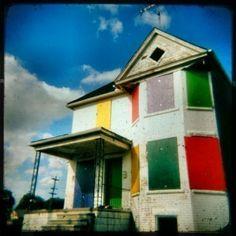 Rainbow Crackhouse  Fine Art Detroit House HOLGA Print  8x8 by stoopidgerl, $25.00