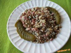 Zapečená čočka s rýží a uzeným masem