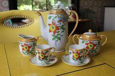 Vintage Lusterware Demitasse Set, Peach Luster Coffee Set with Orange and Yellow Daffodils, Lusterware Espresso Set, Vintage Demitasse Set
