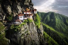 3000 meters high up in the Himalayan Mountains sits the Tigers Nest Monastery (or Taktsang Palphug). Located near the city of Paro in the Kingdom of Bhutan.