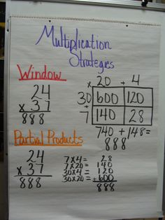multiplication - this is how they are taught in elem and not always using the standard algorithm - good to refer back to for students